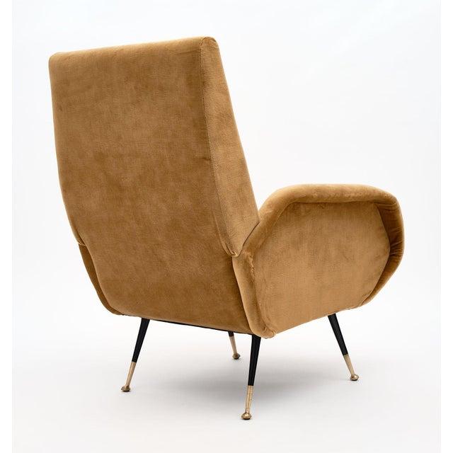 Gold Velvet Vintage Italian Armchairs For Sale - Image 9 of 10