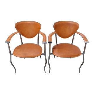 Arrben Leather and Chrome Chairs - a Pair For Sale