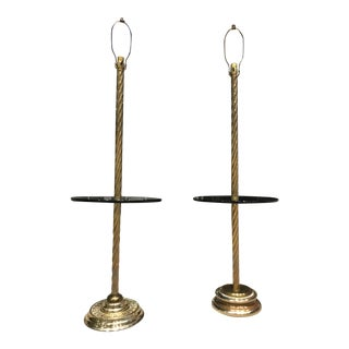 Midcentury Solid Brass Floor Lamps With Glass Tray Tables and Barley Twist - a Pair For Sale