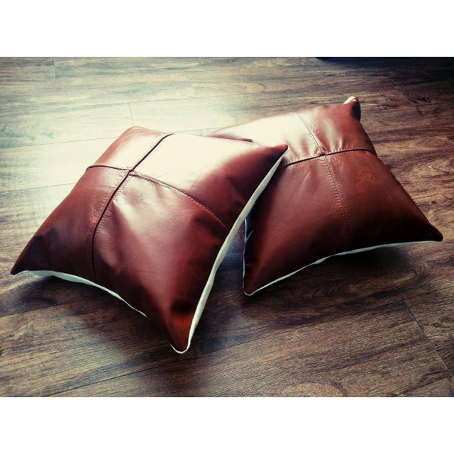 Modern Leather Pillows - Set of 2 For Sale - Image 3 of 4