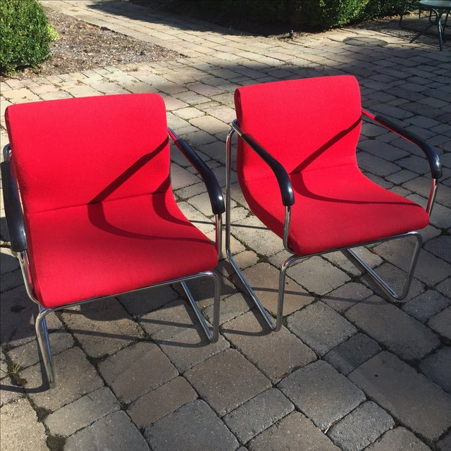 Upholstered Chrome Side Chairs- A Pair - Image 2 of 6