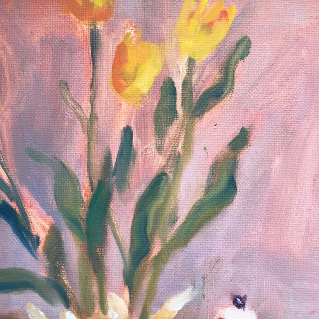 Abstract Contemporary Still Life of Tulips & Tea Pot Oil/Canvas For Sale - Image 3 of 5