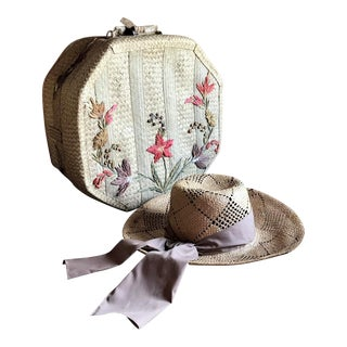 1970s Straw Hat and Woven Hat Box, Boho Fashion