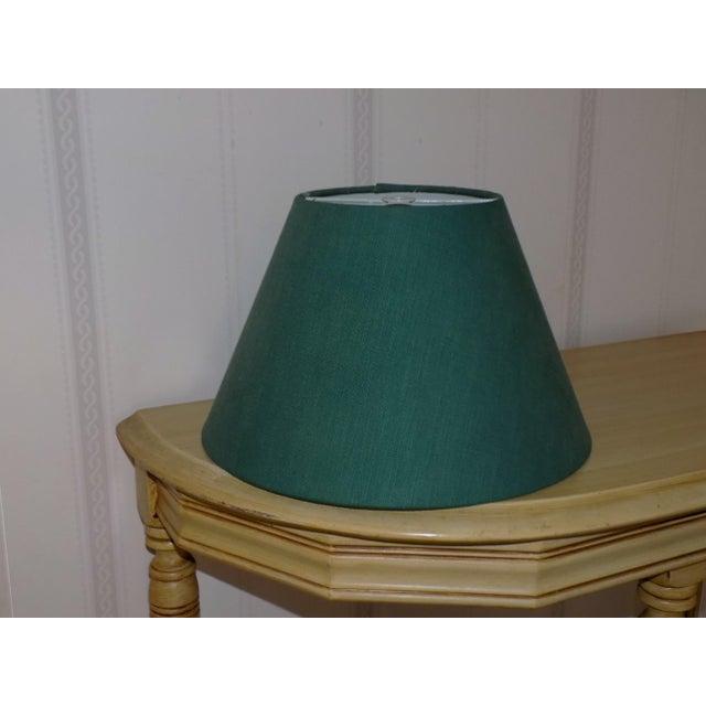 Ceramic Irish Belleek Basketweave Shamrock Pattern Lamp with Original Linen Shade For Sale - Image 7 of 10
