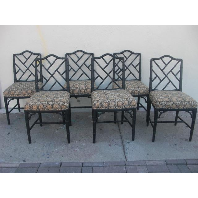 Vintage Mid Century Faux Bamboo Chippendale Dining Chairs- Set of 6 For Sale - Image 4 of 11