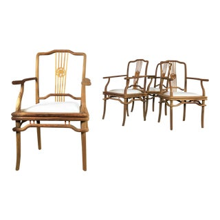 Set of Four Natural Teak Indonesian Ming Style Dining Armed Chairs With Upholstered Seats For Sale