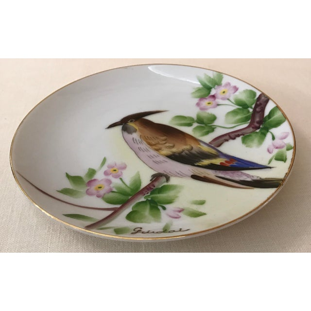 Asian Guidai Japanese Hand Painted Bird Plate For Sale - Image 3 of 8