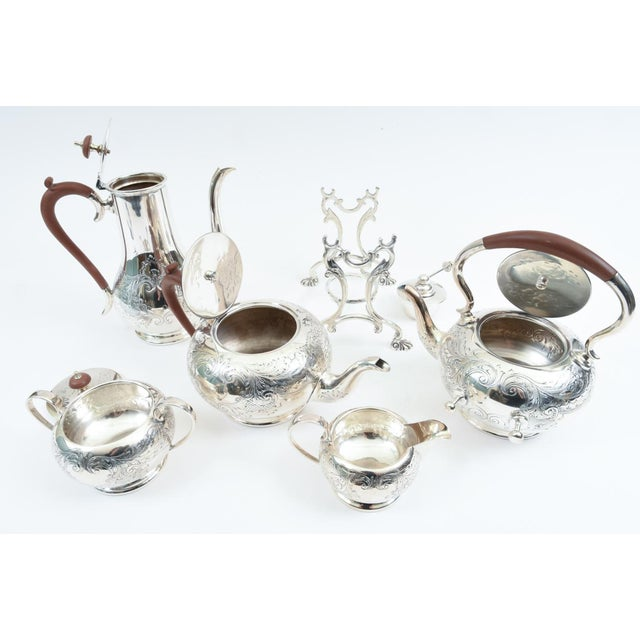 Brown English Silver Plate With Wood Handle Five-Piece Tea or Coffee Service For Sale - Image 8 of 10