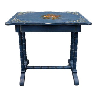 Vintage Blue Painted Top Side Table With Faux Bamboo Legs For Sale
