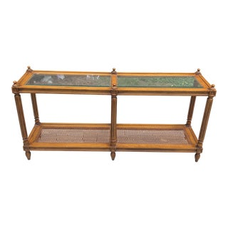 1970s Traditional Wooden Caned Console Table For Sale
