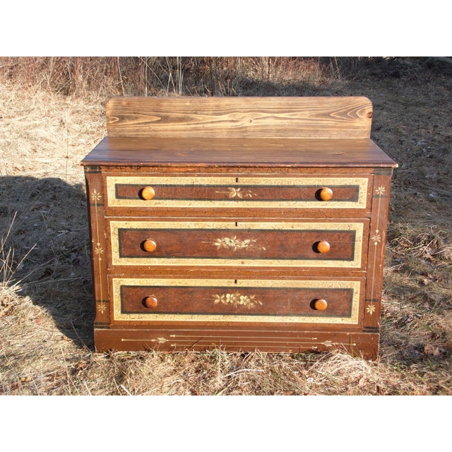 Late 19th Century Antique Victorian Country Cottage Hand Painted Chest of Drawers Dresser Commode For Sale - Image 5 of 11