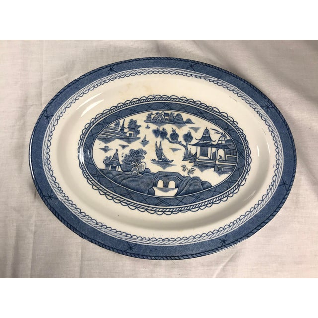 Blue Woods & Sons Canton Blue Oval Platter Plate For Sale - Image 8 of 8