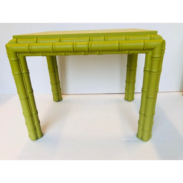 Vintage Chippendale Faux Bamboo Side Tables - a Pair For Sale In New York - Image 6 of 8