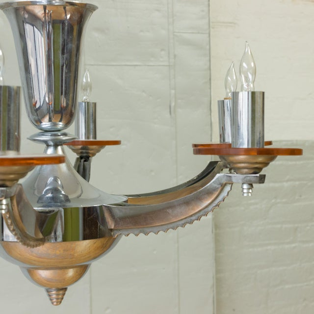 Art Deco 1930s French Deco Chrome-Plated Chandelier by Petitot For Sale - Image 3 of 11