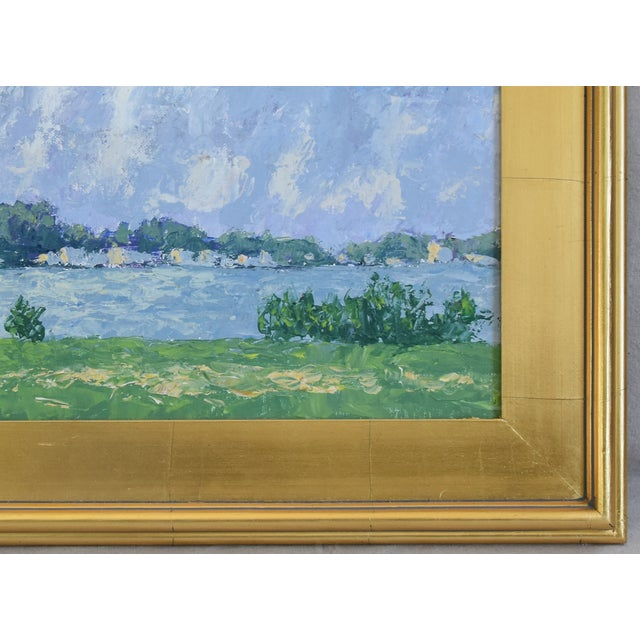 c559ee55a519 Impressionist Plein Air Lake   Sky Painting W  Gold Leaf Frame For Sale In  Los