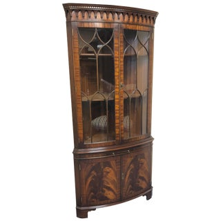 Lovely Flame Mahogany English Corner Cabinet by Bevan Funnell For Sale