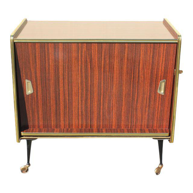 1940s Vintage Macassar French Art Deco Swivel Bar Cabinet For Sale - Image 13 of 13