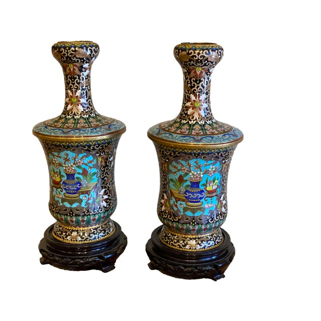 Pair of 19th Century Chinese Cloisonné Vases On Wood Stands