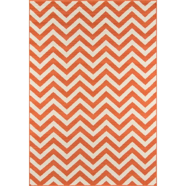 "Momeni Baja Orange Indoor/Outdoor Rug - 6'7"" X 9'6"" For Sale In Atlanta - Image 6 of 6"