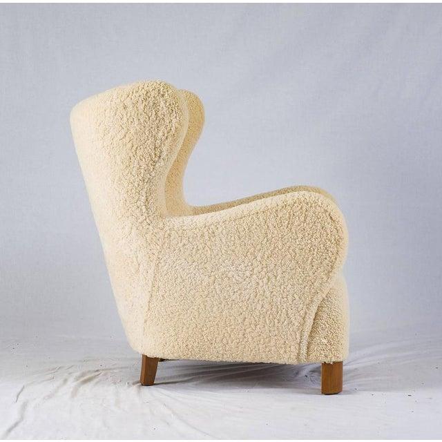 Scandinavian Sheepskin Lounge Chair - Image 5 of 10