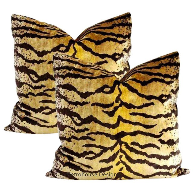 Not Yet Made - Made To Order Velvet Tigre Down Feather Pillows - Set of 2 For Sale - Image 5 of 5