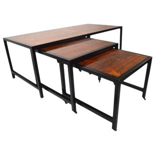 Three-Piece Nesting Tables Attributed to Harvey Probber Rosewood For Sale
