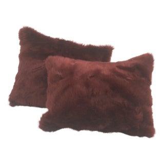 Faux Fur Pillows in Garnet - a Pair For Sale