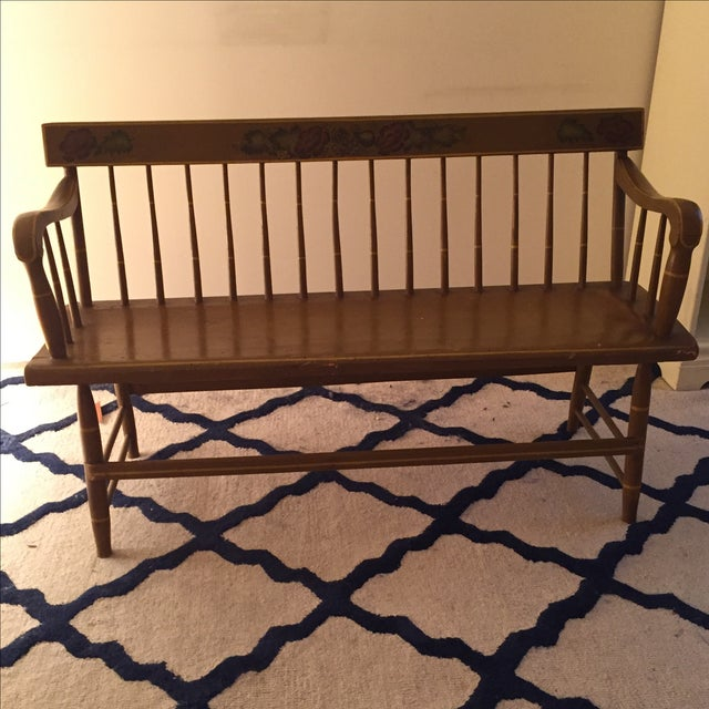 Antique Bench with Floral Painting - Image 4 of 4