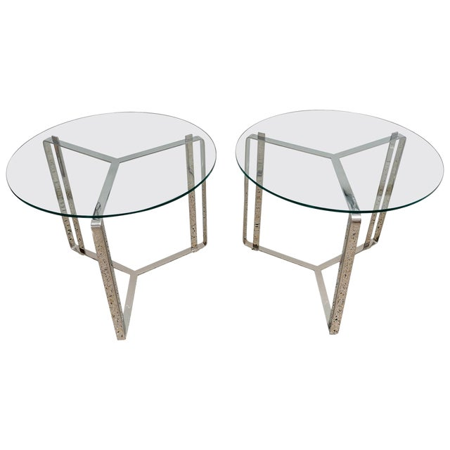Glass and Steel Round End Tables - a Pair For Sale