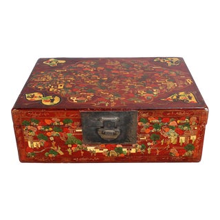Chinese Polychrome Lacquered Trunk For Sale