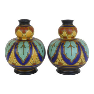 Gouda Pottery Vases, Holland- a Pair For Sale