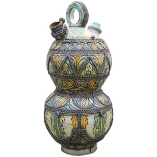 Ceramic Water Vessel W/ Fine Filigree For Sale