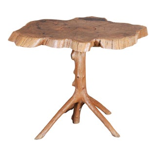 Rustic Yew Wood Center Table For Sale