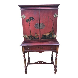 1920s Red Chinoiserie Cabinet With Key For Sale