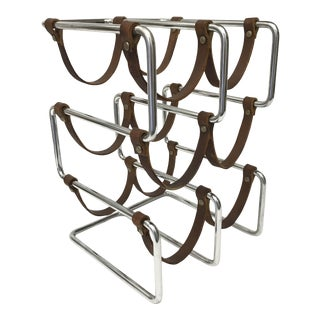 Mid-Century Modern Chrome & Leather Cantilever Wine Rack For Sale