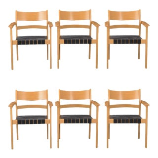 Danish GE881 Armchairs by Hans J. Wegner for Getama, 1988 - Set of 6 For Sale
