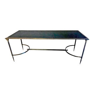 1950s Art Deco Maison Bagues Bronze and Glass Coffee Table For Sale
