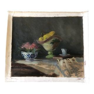 Vintage Original Impressionist Still Life Painting Fruit &Flowers 1970's For Sale