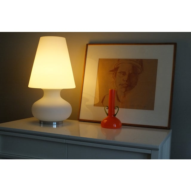 "Mid-Century 22"" Tall Frosted Glass Lamp - Image 4 of 10"