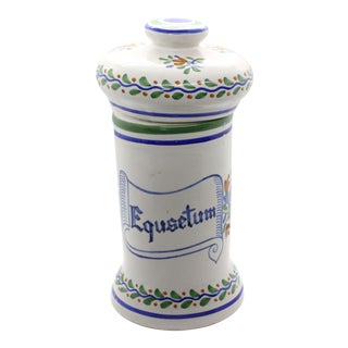 "Early 20th Century Hand-Painted Spanish Horsetail ""Equsetum"" Apothecary Lidded Jar Signed For Sale"