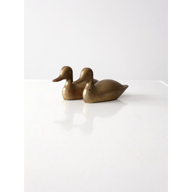 Mid-Century Brass Ducks - Pair For Sale - Image 7 of 9
