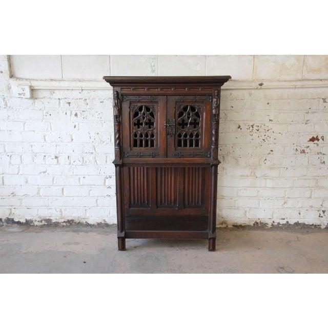 Antique Belgian Dark Oak Gothic Bar Cabinet, Circa 1850s For Sale - Image 11 of 11