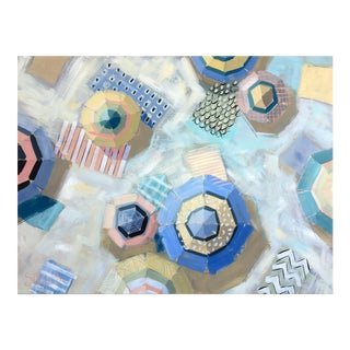 Abstract Boho Chic Beach Umbrella Peach Bellini Painting