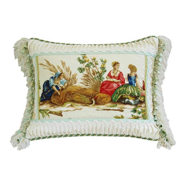 Designer English Harvest Pleated Silk Pillow - Image 1 of 5
