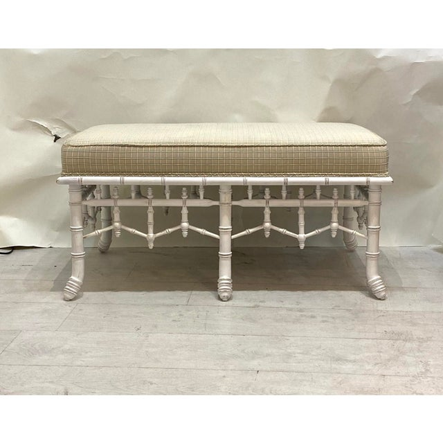 Faux Bamboo bench turned wood bottom. Well made quality construction built to last. Has the original upholstery on the top...