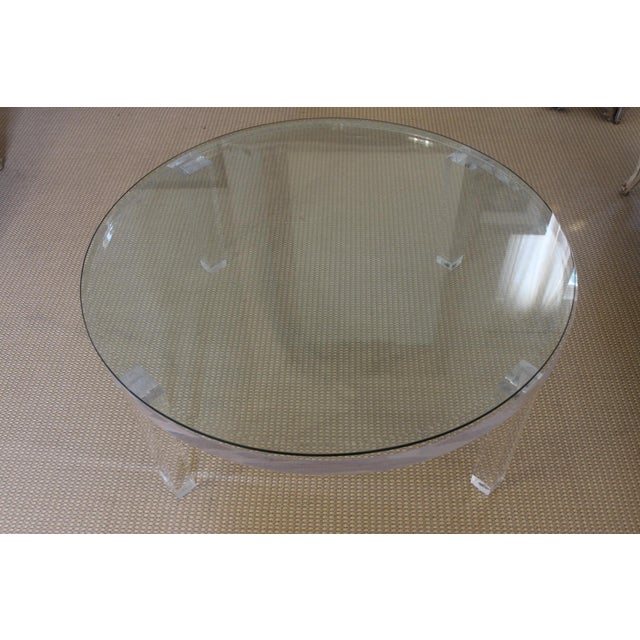 Contemporary H- Studio Round Glass/Lucite Coffee Table For Sale - Image 3 of 8