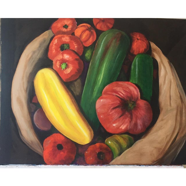 Original painting of Farmers Market veggies. Painted in acrylic and oil on a high quality canvas board. This painting is...