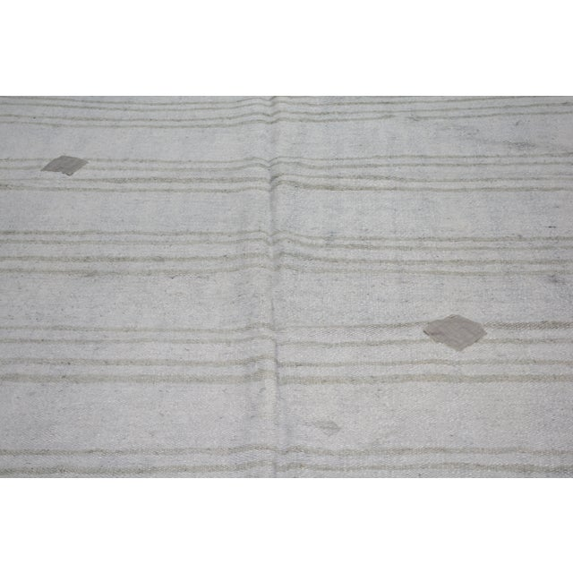 "Shabby Chic Vintage Turkish Tribal Natural Color Hand Made Organic Hemp Anatolian Kilim,5'x6'5"" For Sale - Image 3 of 6"