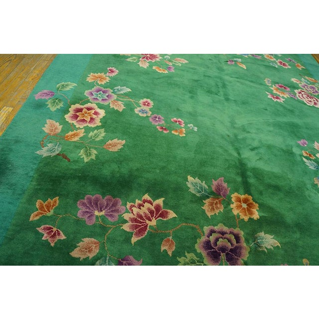 """1920s Chinese Art Deco Green Rug - 8'8""""x11'4"""" For Sale - Image 5 of 7"""
