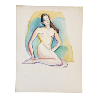 Vintage Original Female Nude Watercolor Painting 1980's For Sale